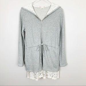 Altar'd State   Lace Trim Hoodie Jacket Sweatshirt